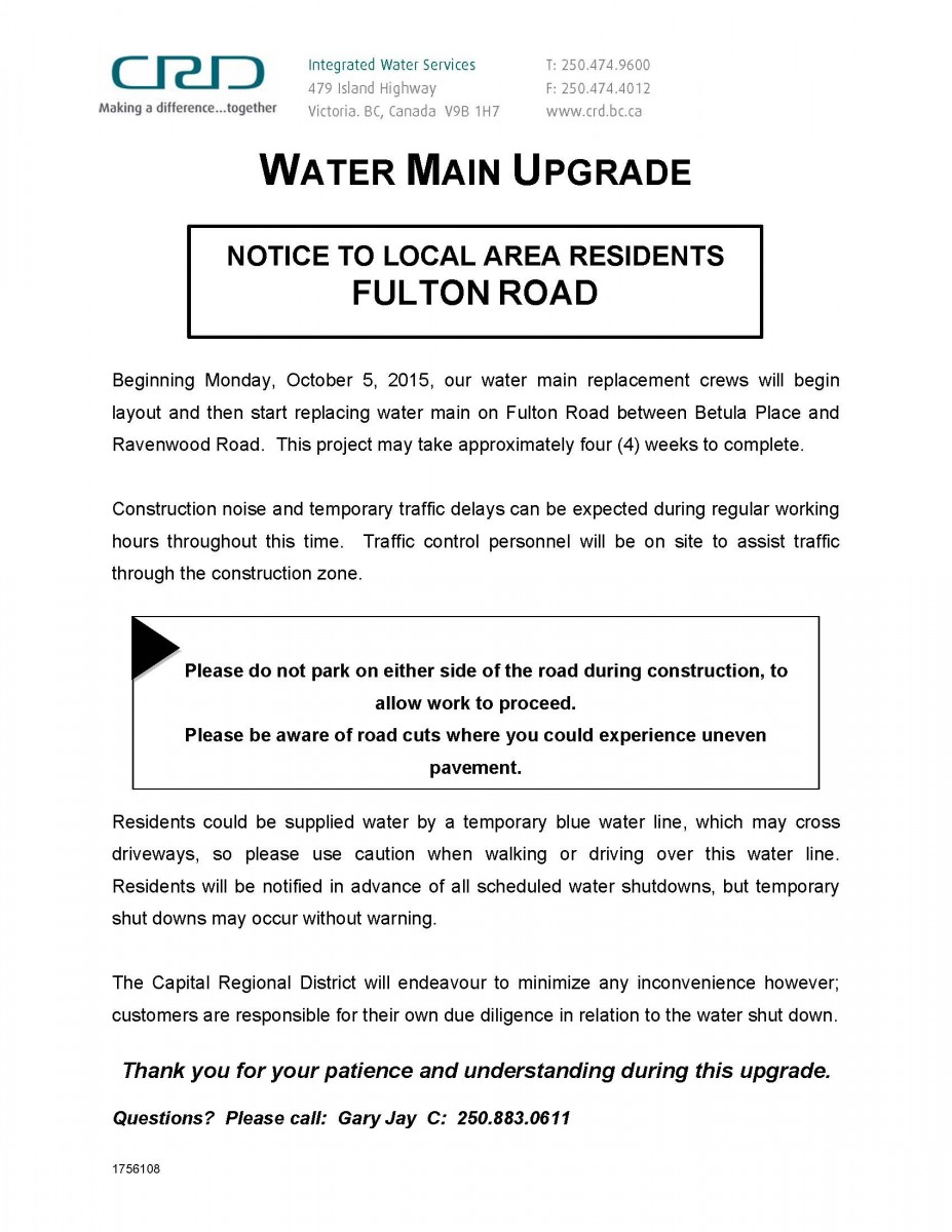 Crd Notice Water Construction Notice For Colwood