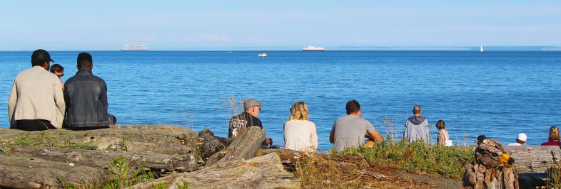 people talking at the beach in Colwood