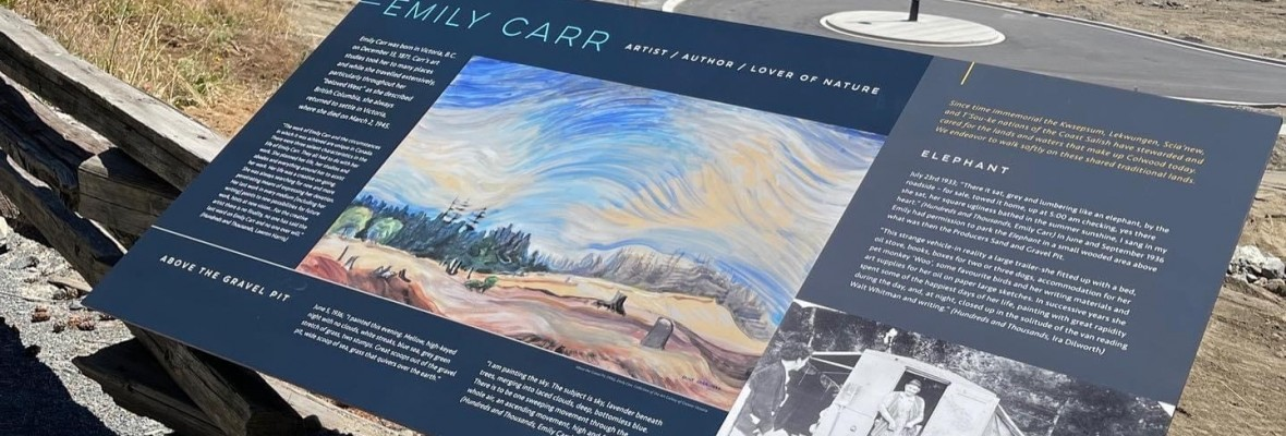 emily carr sign on trail overlooking development