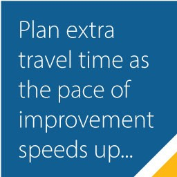 Plane extra travel time as the pace of improvement speeds up