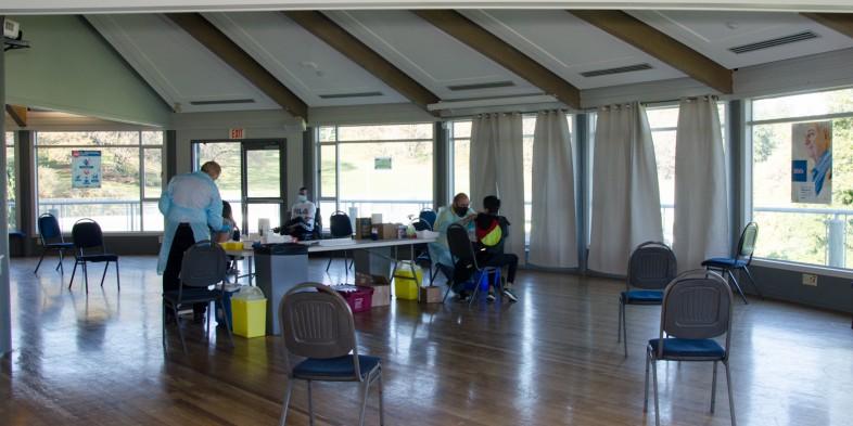 Juan de Fuca fieldhouse set up for flu vaccinations
