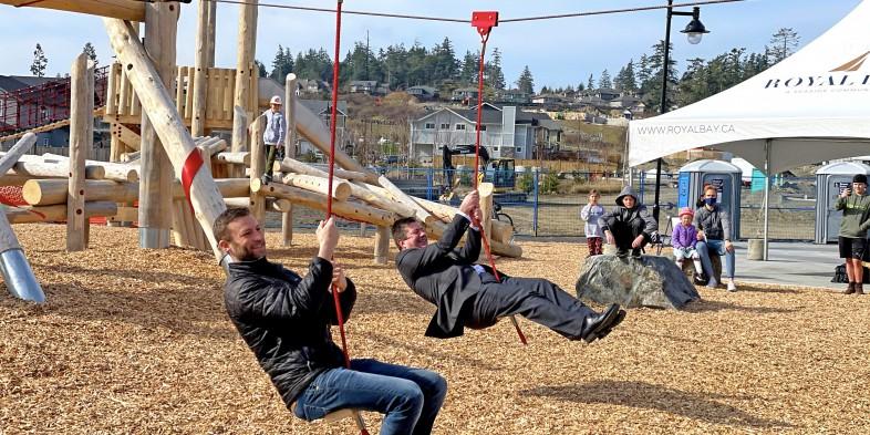 mayor ziplining at Meadow Park