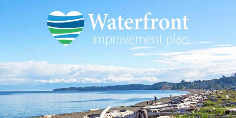 waterfront scene with waterfront improvement plan logo