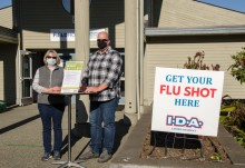 flu clinic staff ready to welcome patients