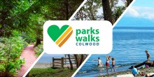 images of colwoods parks with the text parks walks colwood