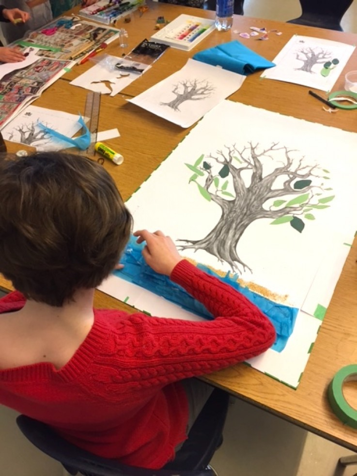 John Stubbs student working on their art tree project