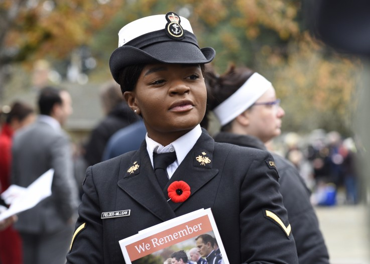 Female member of the military at the cenotaph 2018